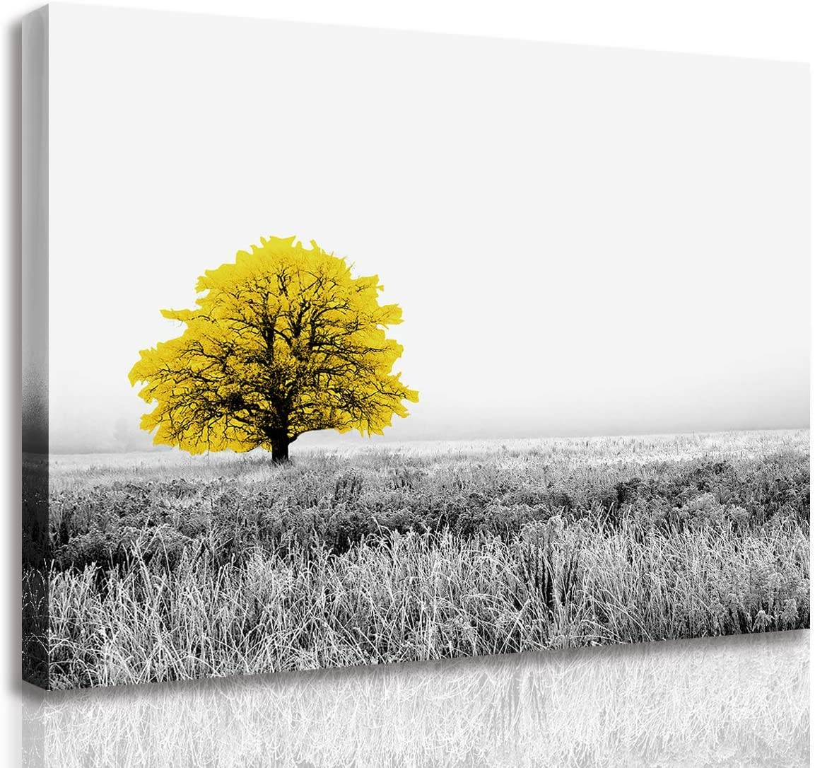 Canvas Print Wall Art Painting Yellow Tree in Black and White Nature Landscape Artwork Prints Picture Modern Home Decor for Bedroom Bathroom Living Room Decoration