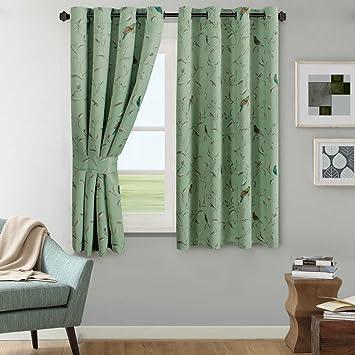 Green Curtains amazon green curtains : Amazon.com: H.Versailtex Rustic Turquoise Birds in Quiet Green ...
