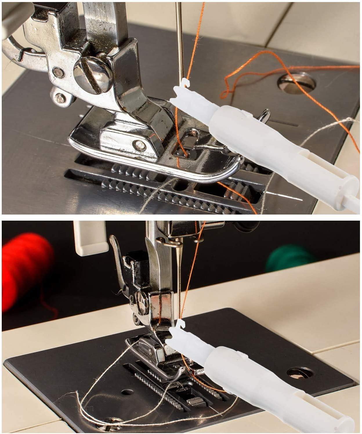Blue and White 2 Pcs Sewing Machine Needle Threader Sewing Needle Inserter Automatic Needle Threader Needle Threading Tool Threading Device for Household DIY Sewing Machine