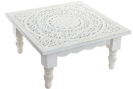 Tavolo Bianco Decape.Iber Tavolino Ausiliare Di Legno In Tono Bianco Decape Stile Etnico Mandala 40 X 40 X 19