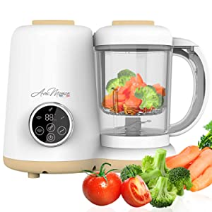 Avec Maman - Baby Chef, 4-in-1 Food Processor for Babies - Baby Food Blender | Steamer | Bottle Warmer | Jar Warmer | Sterilizer - Baby Food Maker | BPA-Free
