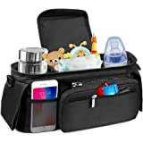 Baby Stroller Organizer Bag - Stroller Storage Bag with 2 XL Waterproof Leak-Proof Insulated Cup Holders and Large…