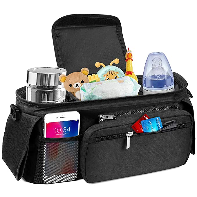 Gray Baby Stroller Organizer Bag,Wet Dry Separated Stroller Caddy Organizer,Large Capacity Waterproof Stroller Storage Bag,Non-Slip and Adjustable Straps,Multi-Function Baby Products Organizer