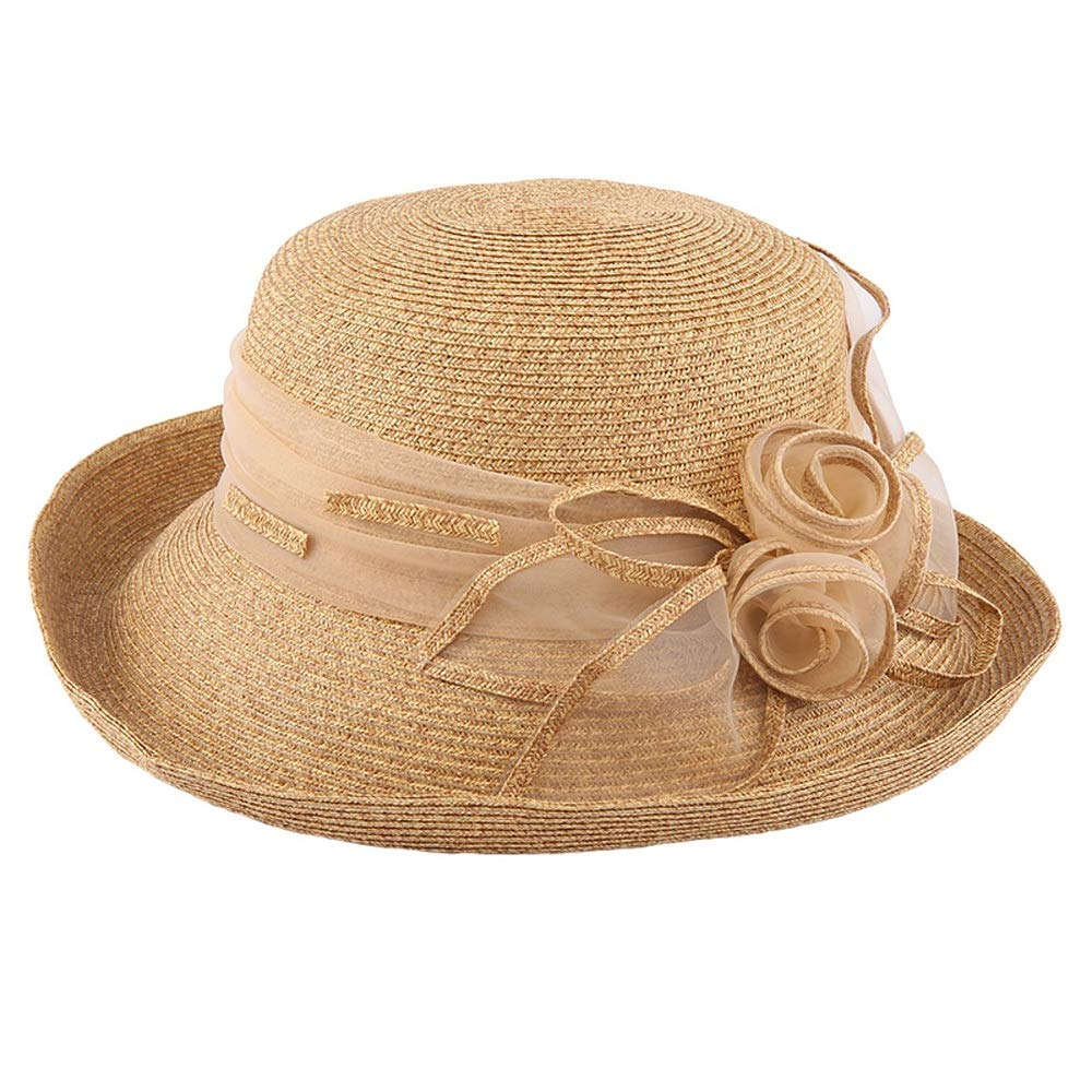 YD Hat - Straw Hat Ladies Summer Sun Visor Outdoor Travel UV Protection Sun Hat Sun Hat Cover Face Cool Hat (2 Colors) ## (Color : Beige) by YD-shop (Image #1)