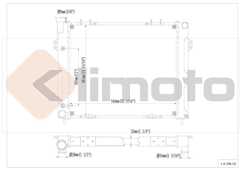 Klimoto Brand New Radiator fits Jeep Grand Cherokee 1993 1994 1995 1996 1997 1998 4.0L L6 CH3010201 675-02268A 52079597AB CU1396 RAD1396 DPI1396 2182