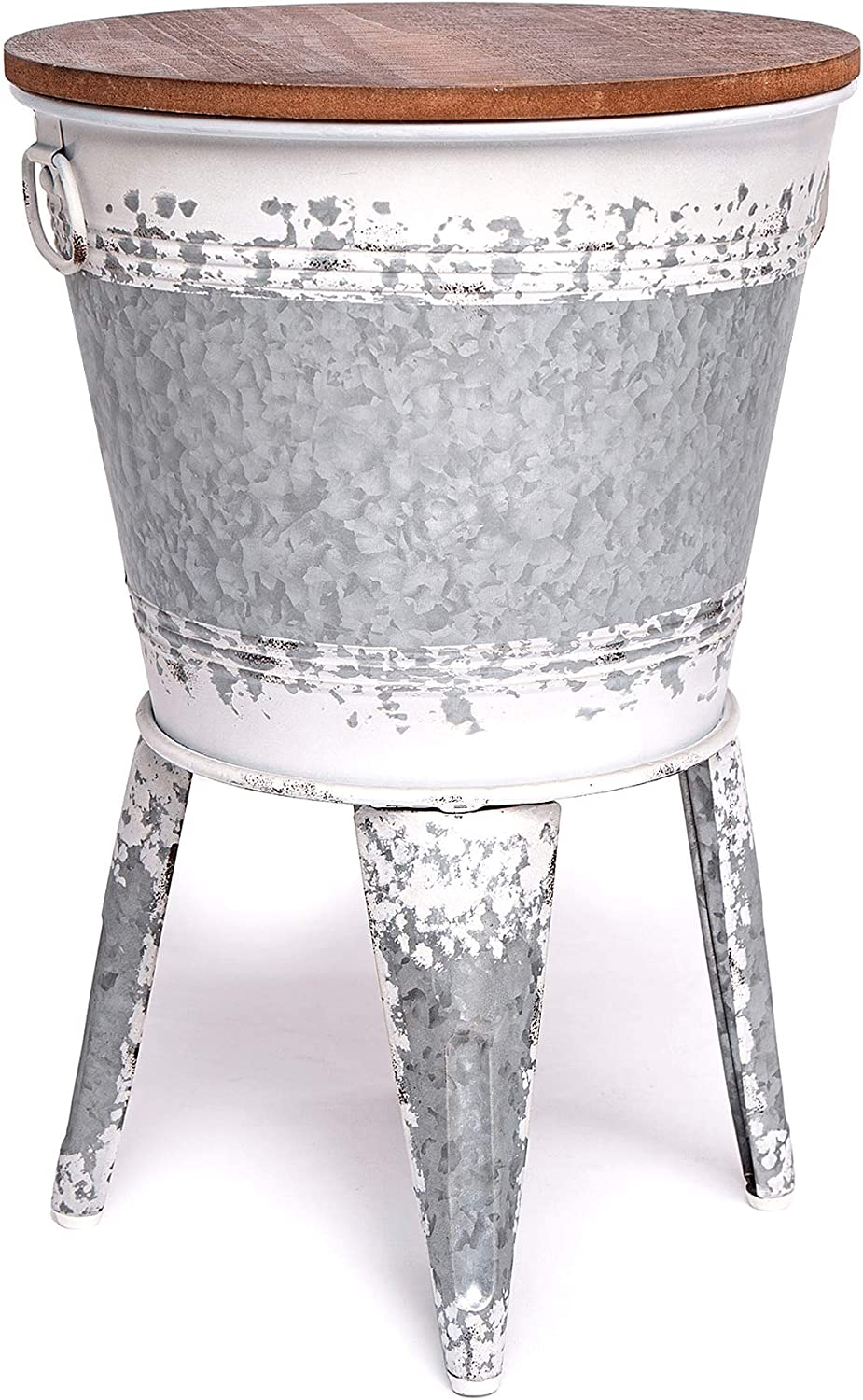 Farmhouse Accent Side Table - Galvanized Rustic End Table. Metal Storage Bin Wood Cover. Coffee or Cocktail Table - Distressed White