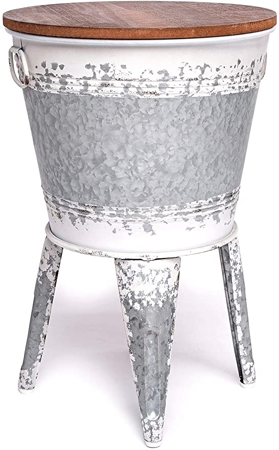 Amazon Com Farmhouse Accent Side Table Galvanized Rustic End Table Metal Storage Bin Wood Cover Coffee Or Cocktail Table Distressed White Kitchen Dining
