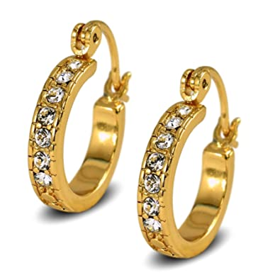 Blue Diamond Club - Gold Twisted Rope Hoop Earrings 9ct Gold Filled Creole Womens or Girls IqMyyZbKy