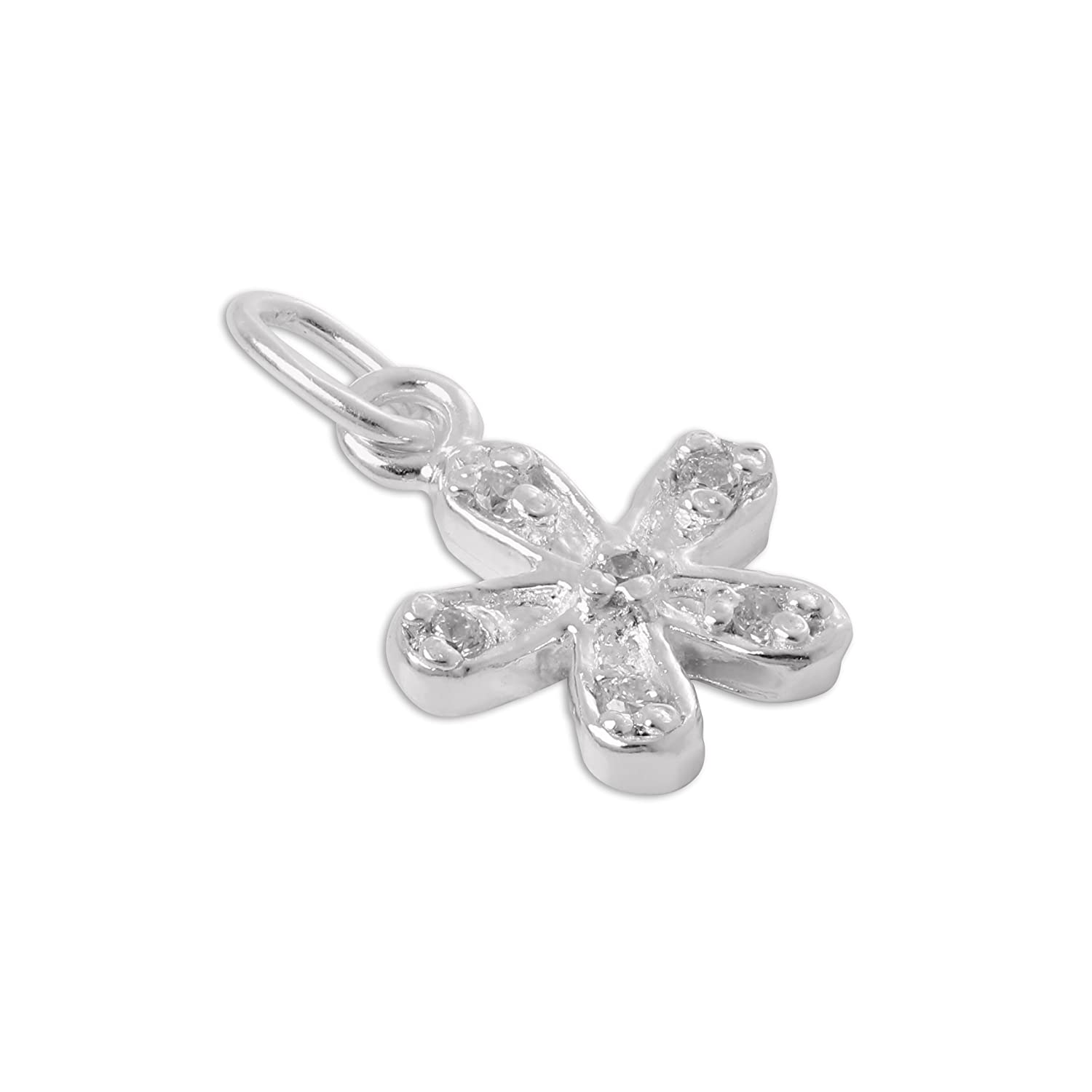 Sterling Silver /& CZ Crystal Flower Charm