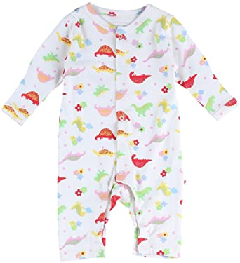 359ceaaa8e75 Piccalilly organic cotton floral dinosaur print romper  Amazon.co.uk   Clothing