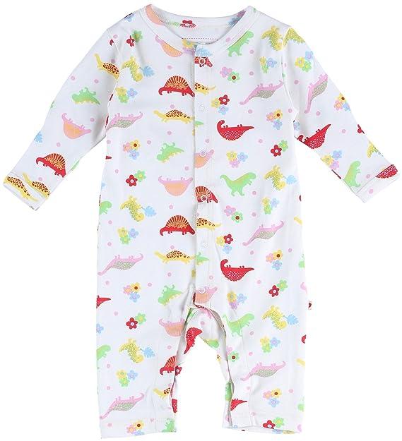 Piccalilly mono para dormir blanco y rosado algodón organico con flores y dinosaurios