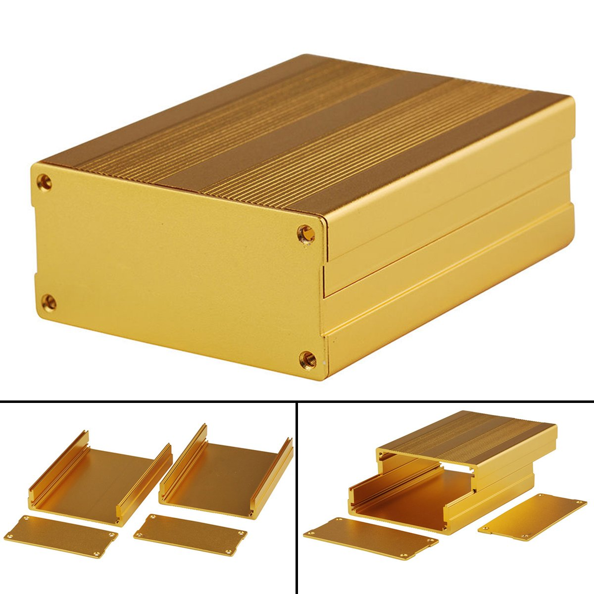 Aluminum Enclosure Box Gold Circuit Board Case For Electronic Project Amplifier 100x76x35mm