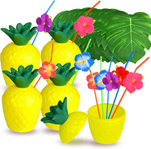 20pcs Tropical Pineapple Coconut Drink Cups+Straw Set Party Decoration