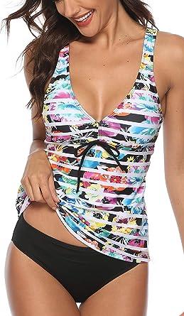 Women Tankini Bikini Set Sporty Push Up Padded Swimsuit Beach Swimwear Plus Size