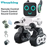 Threeking Smart Robot Toys Remote Control / Touch / Sound Control Robot Gift for Boys Girls Kid's Companion:Money Management Game Fun Learning Music Dance Etc.Rechargeable Robot Kit-White