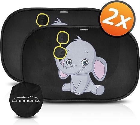 para proteger del sol a beb/és y mascotas Parasol coche infantil con protecci/ón UV 2 unidades autoadhesivo parasol coche beb/é con elefante