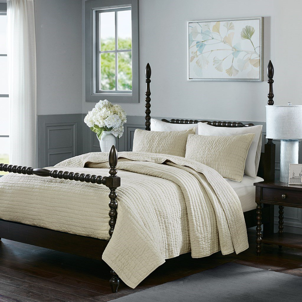 Madison Park Signature Serene Cotton 3 Piece Coverlet Sets (King/Cal King 110x96, Ivory)
