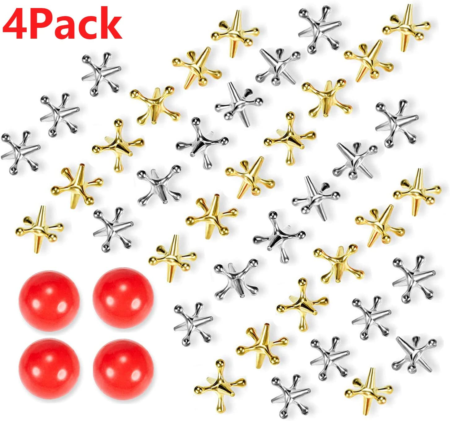 Burstsgle 4 Set Metal Jacks Game Toy Kit Including 40 Pieces Metal Jacks with 4 Red Rubber Bouncy Balls Retro Classic Game of Jacks for Teens and Adults Party