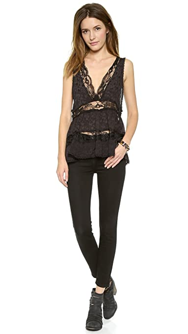 a0829101b398 Free People Intimately Deep V Trapeze Cami L Black at Amazon Women s  Clothing store