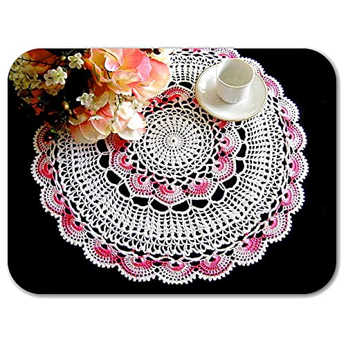 Tapete redondo blanco y rosa de ganchillo en algodón - Tamaño: ø ...