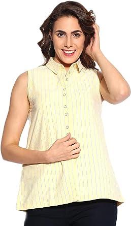 Camisa amarilla y blanca a rayas de la Mujer: Amazon.es: Ropa ...