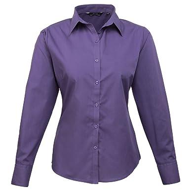 c4b3acdc1 Premier Womens/Ladies Poplin Long Sleeve Blouse / Plain Work Shirt (20)  (Purple): Amazon.co.uk: Clothing