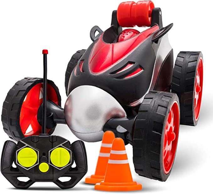 RC Stunt Car Toy for Kids - High Speed Double Side Remote Control Car Spins and Flips   Indoor and Outdoor w/ Bonus - 6 Traffic Cones   Gift for Boys and Girls Age 3+   New Car - Color Red and Black