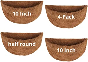 10 Inch, 4 Pack, Half Round Wall Planter Coco Liners, Half Circle Coconut Coir Liners Fiber Replacement for Wall Mounted Fence Metal Hanging Wire Flower Plant Basket Pot Garden Indoor and Outdoor