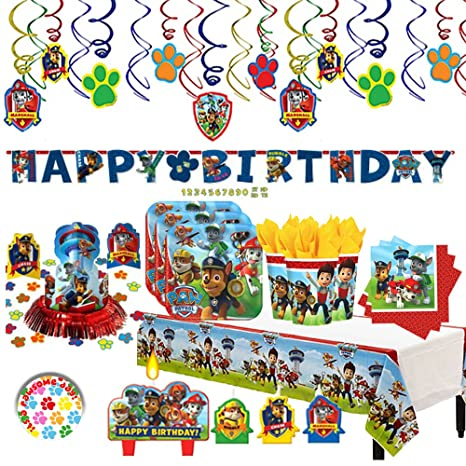Paw Patrol Birthday Party Deluxe MEGA Supplies Pack Decorations For 16 Guests Plates
