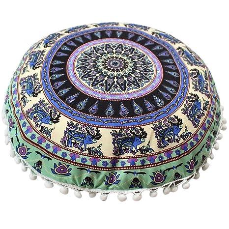 VJGOAL Mandala India Redonda Bohemio Funda de Almohada decoración del hogar Funda de cojín Suave(40_x_40_cm,Multicolor5)