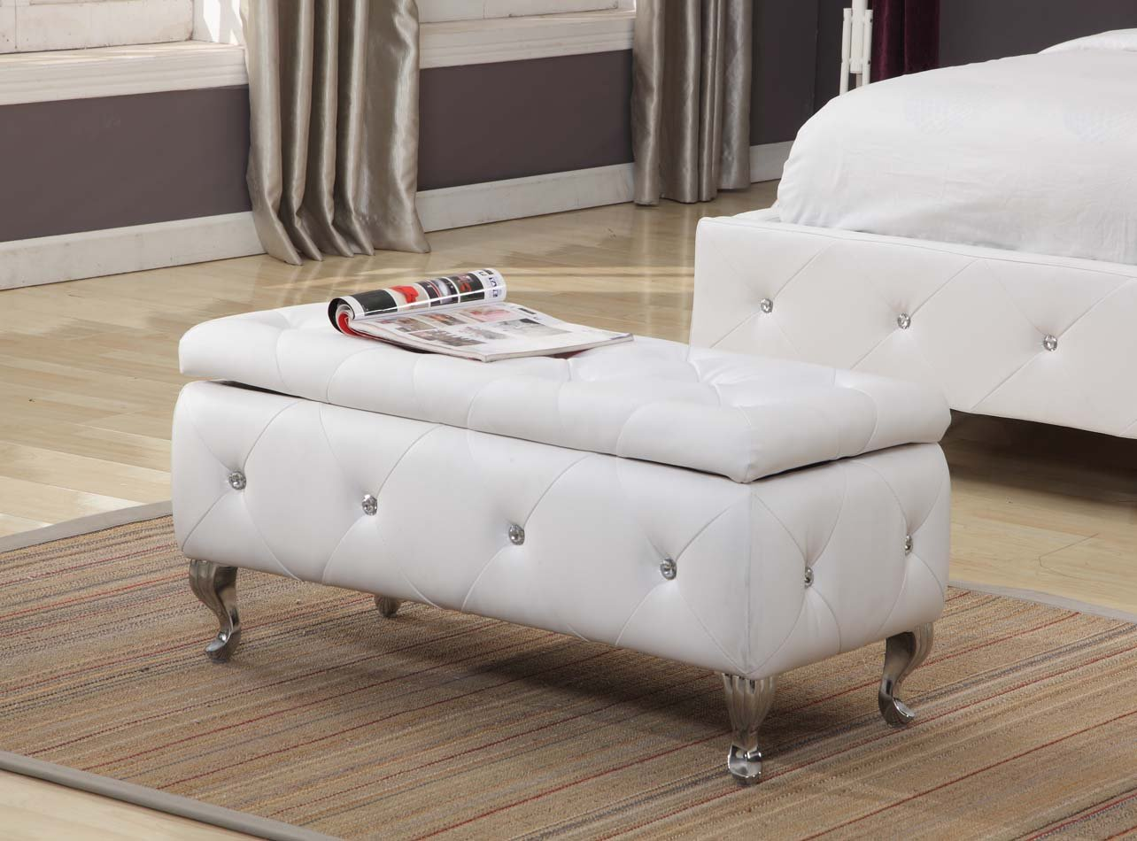 Amazon.com: Kings Brand Furniture White Vinyl Tufted Design Upholstered Storage  Bench Ottoman: Kitchen U0026 Dining
