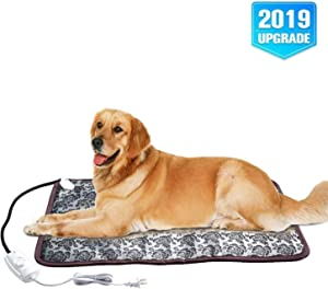 "XXL Heating Pad for Large Dog Bed Outdoor or Home,Electric Heating Mat for Dog House Crate Pad for Small Medium Pet Cat Puppy Waterproof Easy Clean Long Chew Proof Cord Gray,34""x21"",30-60W"