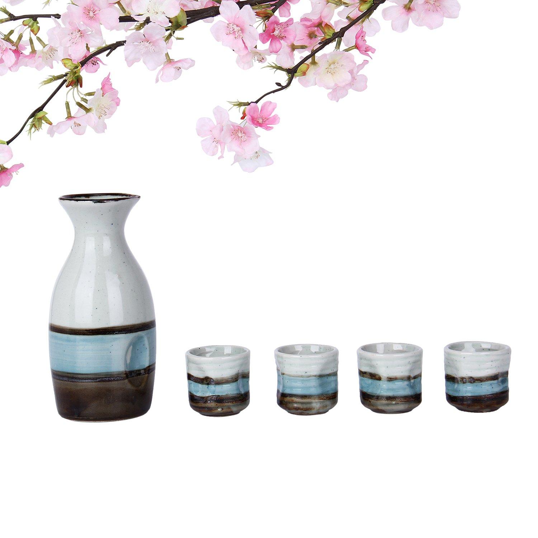 Japanese Sake Set, 5 Pieces Sake Set with Bottle Handmade Handpainted Ceramics Porcelain Sake Set Ceramic Wine Set (1 Sake Pot + 4 Sake Cup) With Stripe of River