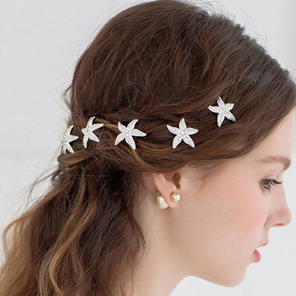 Nicebuty 10pcs Cristal étoile de mer épingles à cheveux en argenté pour mariage épingles à cheveux de mariage mariée Accessoires Cheveux pour la plage sur le thème Mariage, fête, utilisation quotidienne