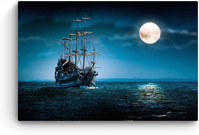 Startonight Cuadro Moderno en Lienzo Paisaje Naturaleza, Nave y la Luna en el Mar Azul para Salon Decoración Grande 80 x 120 cm