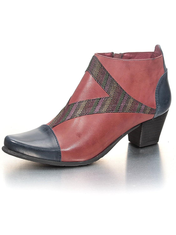 Fidji Damen V791 Bordeaux/Blau Glattleder Exclusive Designer-Stiefelette Bordeaux/Blau V791 3b789b
