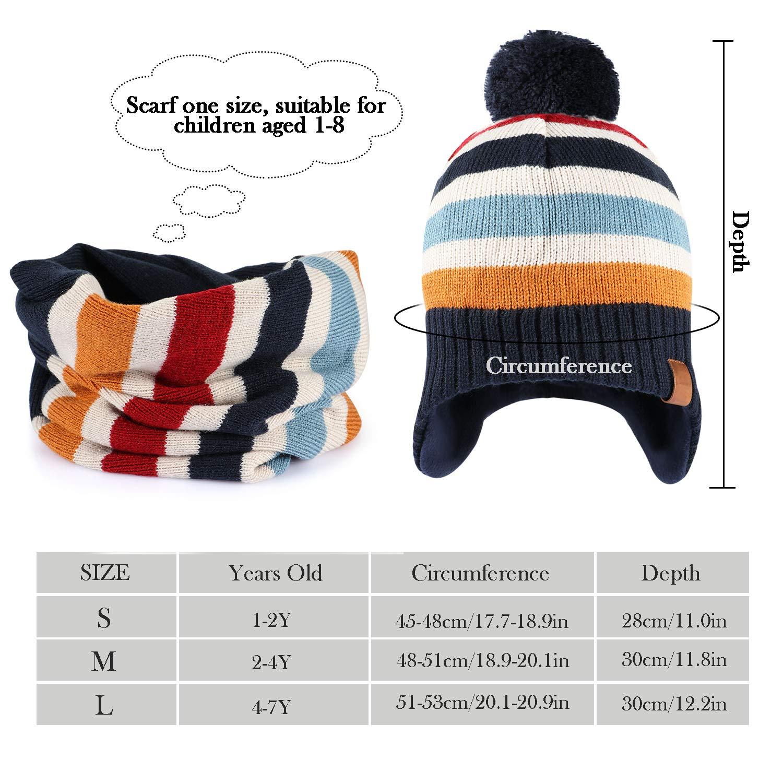 Tacobear Enfant Bonnet Oreillette et /Écharpe en Tricot dhiver /Épais Chaud Pompon Chapeaux avec Tour De Cou pour Gar/çons Filles 8 Mois /à 7 Ans