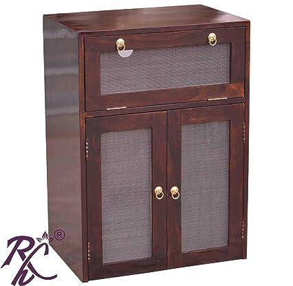Raj Handicraft Solid Sheesham Inverter Battery Cabinet Walnut Standard Size