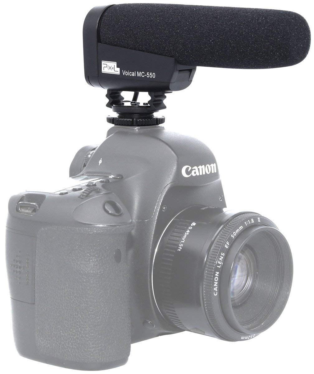 Pixel MC-550 Shotgun Camera Mic Interview Camera Microphone Video Recording Microphone Noise Cancelling Mic for Canon/Nikon/SONY and More DSLR