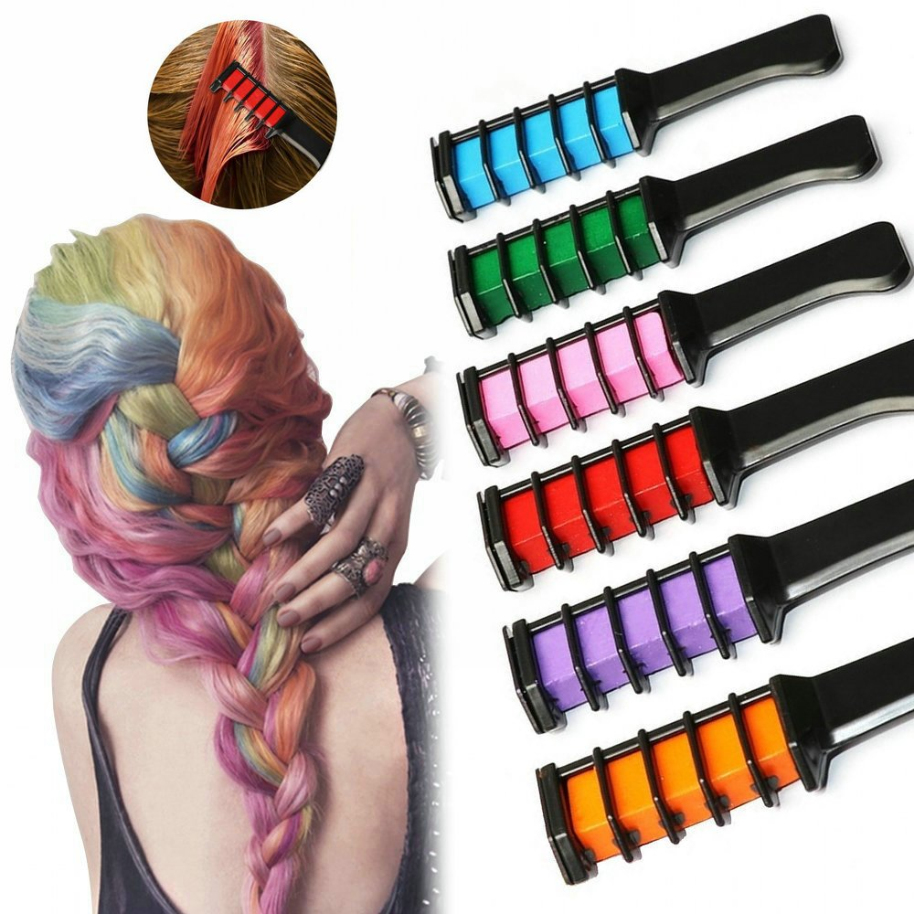 Hair Chalk Comb Set, PJYU 6 Colors Temporary Hair Color Cream for Kids Girls Boys Men Disposable Instant Dye Hair DIY Party Cosplay Halloween Works on All Hair Colors