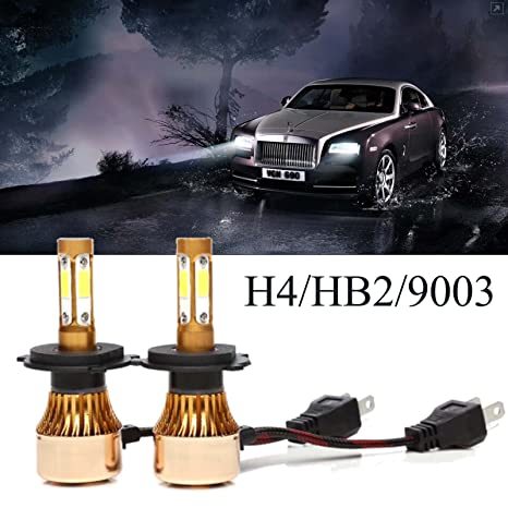 Cree COB H4 HB2 9003 Car LED Headlight Bulbs Conversion Kit 200W 20000lm 6500K Lighting & Lamps
