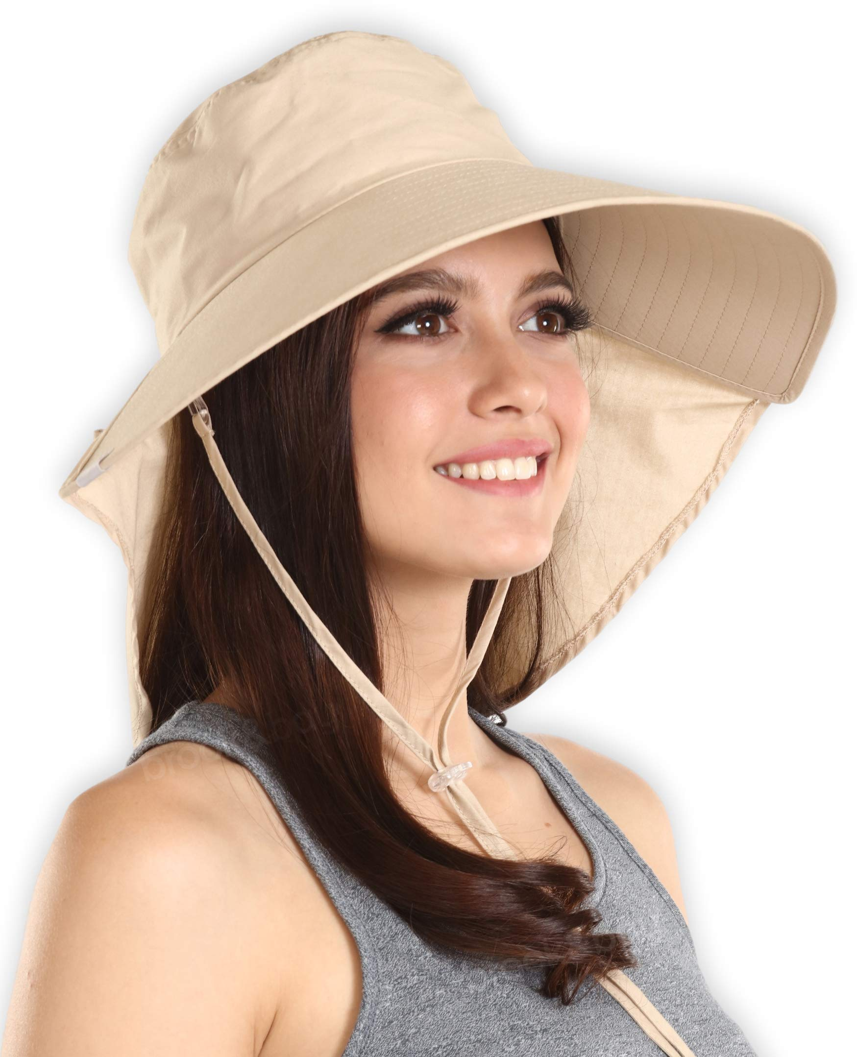 Brook + Bay UV Protection Cotton Sun Hat with Ponytail Hole & Chin Strap - Packable & Stylish Wide Brim Summer Hat for Women. Perfect for Beach Travels, Hiking, Gardening & Outdoor Adventures