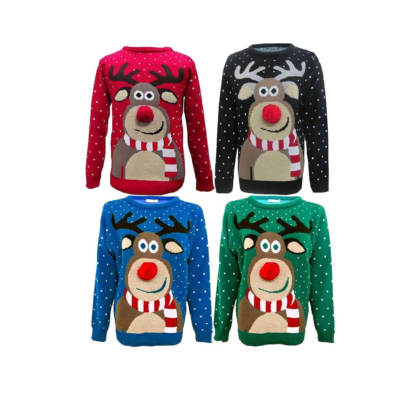 Miss Trendy Children Kids 3D Nose POM POM Rudolph Retro Christmas Novelty Jumper Sweater