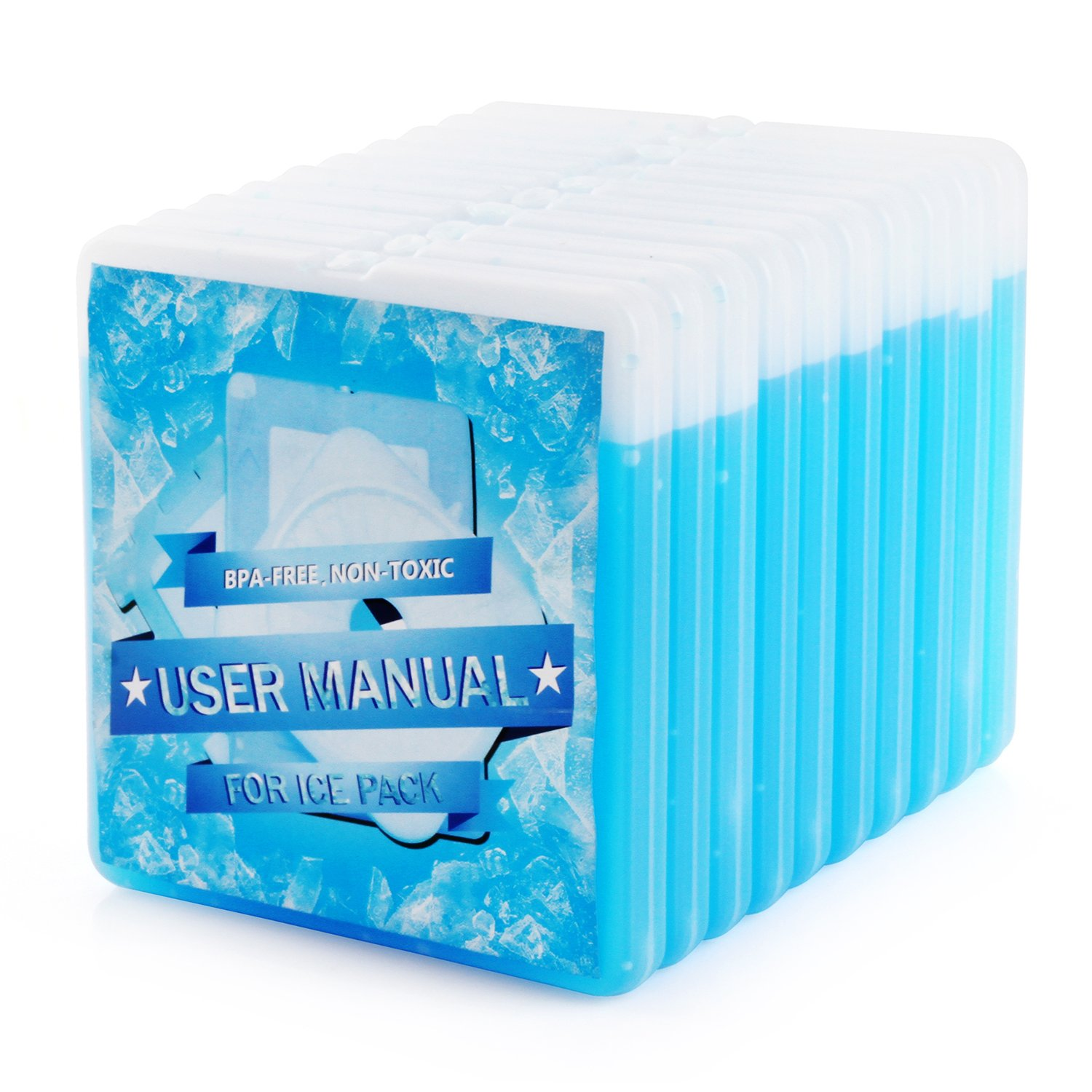 OICEPACK Ice Packs for Lunch Box (set of 10) Blue, Kids & Adults, Reusable Ice Pack for Coolers, Freezer Ice Packs for Coolers, Small Ice Pack Long Lasting, Stay Cold for Beach Camping Cooler Ice Pack