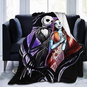 Nightmare Before Christmas Ultra Soft Throw Blanket Flannel Fleece All Season Light Weight Living Room/Bedroom Warm Blanket ,Black ,50
