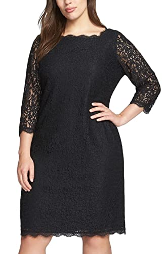 Nemidor® Women's 3/4 Sleeves Plus Size Cocktail Party Midi Lace Dress