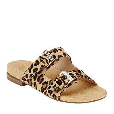 Vionic Womens Czarina Strap on Slip on Sandal Shoes, Tan Leopard, US 5