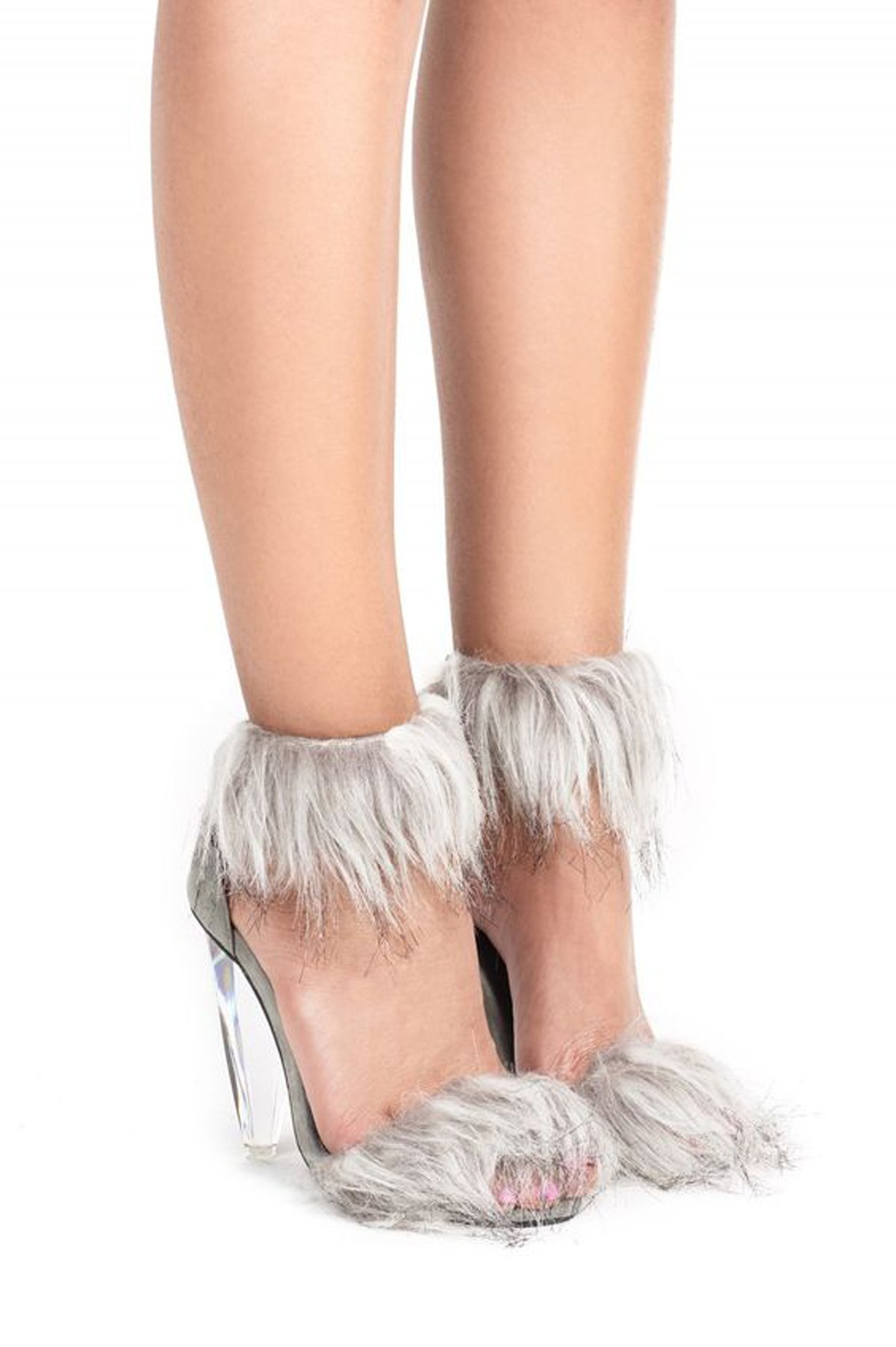 Jeffrey Campbell Fancy-F Grey Suede Combo Fur Geometric Glass Heel Sandal Heels (9)