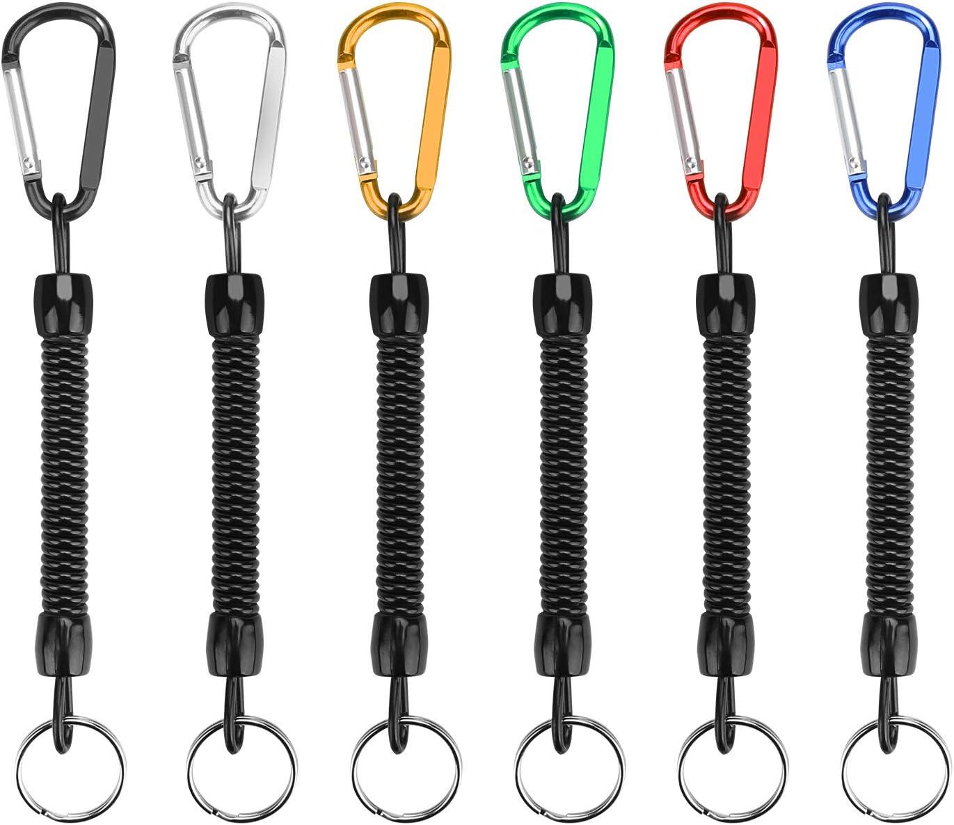 yidenguk Llavero de Espiral elástico con Cuerda de Pesca de 6 Piezas con mosquetón de Color, Llave de Seguridad de cordón con cordón telescópico antirrobo de Resorte telescópico: Amazon.es: Juguetes y juegos