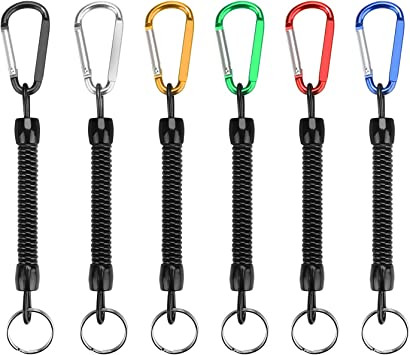 yidenguk Llavero de Espiral elástico con Cuerda de Pesca de 6 Piezas con mosquetón de Color, Llave de Seguridad de cordón con cordón telescópico ...